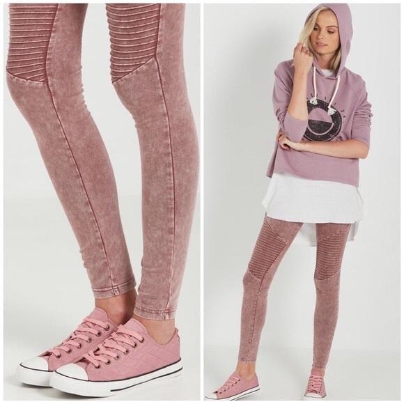 Cotton On Pants Jumpsuits Blush Pink Rose Dakota Moto Legging Poshmark